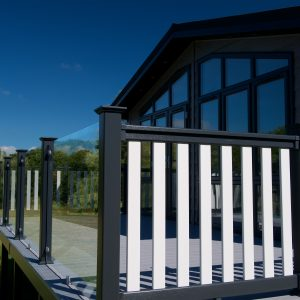 classic black and white upvc decking with clearview balustrades