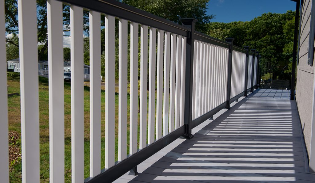 White decking balustrades
