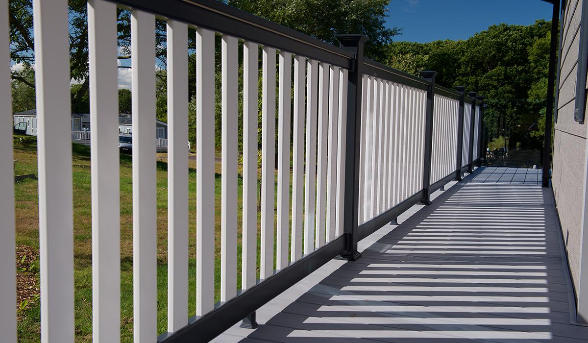 White decking balustrades