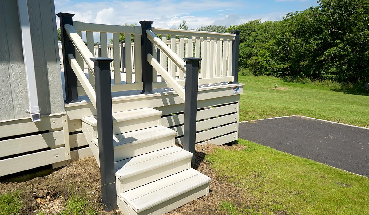 White decking steps