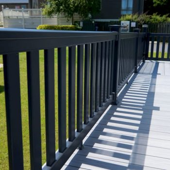 Quality uPVC Caravan Decking with Balustrades installed by The Mayfield Group UK