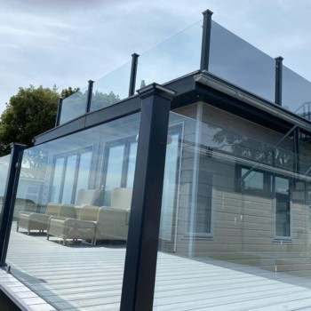 glass balustrades for decking for static caravans and holiday homes